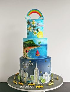 In the City themed party cake inspiration from cakelava: A Rainbow Connecting Hawaii and New York Diy Wedding Cake, Amazing Wedding Cakes, Amazing Cakes, Cake Decorating For Beginners, Cake Decorating With Fondant, Hawaii Cake, City Cake, Nyc Cake, Airbrush Cake