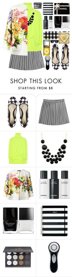 """Check and Flowers"" by barbarela11 ❤ liked on Polyvore featuring L.A.M.B., Monki, Balenciaga, Dolce&Gabbana, Chanel, Butter London, Kate Spade, Shany and Clarisonic"