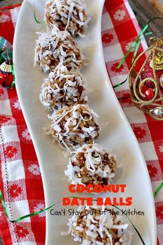 Coconut Date Balls | Can't Stay Out of the Kitchen | our most loved #Christmas #cookie! Everyone always raves over them. Perfect for #holiday baking & parties. #dessert