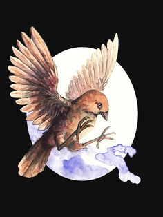 T-shirt with a Sparrow. A cute little bird. Adorable and lovely. A nice watercolor illustration of bird. Framed Prints, Canvas Prints, Art Prints, Cute Birds, Tshirt Colors, Watercolor Illustration, Glossier Stickers, Sell Your Art, Art Boards
