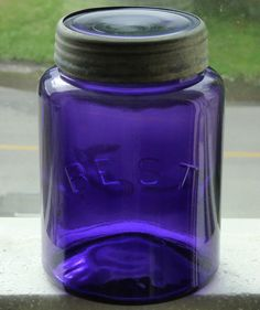 Antique large size Canadian BEST deep purple fruit canning jar FREE SHIPPING!
