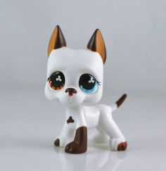good luck store LPS Littlest Pet Shop White & Brown Great Dane DOG Puppy Blue Eye TOY ** Want to know more, click on the image.