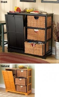 tilt out trash bin.  Great way to hide garbage can in kitchen, without storing under sink