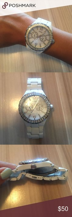 Guess White Watch Guess White Watch. Diamond details on the face. Stainless steel, water proof. No extra links, selling as is! Good condition. Guess Accessories Watches