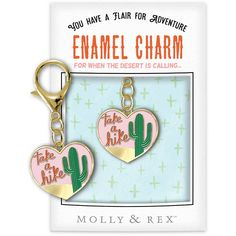 Enamel Charm by Molly & Rex - Each unique charm comes linked to a large lobster clasp for easy attachment, and is packaged in a window envelope with pop-up J-hook Charm measures x Window Envelopes, Lobster Clasp, Cactus, Succulents, Enamel, Charmed, Pop, Personalized Items, Popular