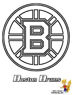 Fantastic coloring sheet for kids who love hockey sport. This sheet includes one of National Hockey League (NHL) team logos, namely Boston Bruins, and the Sports Coloring Pages, Free Coloring Pages, Coloring Sheets, Printable Coloring Pages, Nhl Hockey Teams, Hockey Logos, Nhl Logos, Hockey Players, Boston Bruins Logo