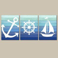 Nautical Wall Art Nautical Bathroom Decor Nautical Nursery CANVAS or Print Wall Decor, Blue Ombre Wood Design Anchor Sailboat Wheel Set of 3 Nautische Wandkunst Leinwand oder Drucke blau Ombre Holz von TRMdesign Nautical Bathroom Decor, Nautical Wall Art, Nautical Nursery, Bathroom Art, Nautical Theme, Bathroom Canvas, Nautical Canvas, Nautical Prints, Nautical Anchor