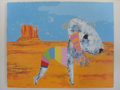 Monument Valley Bedlington Terrier Dog original by AndyShawArt