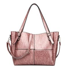 Elegant Oil-wax PU Leather Patchwork Handbag High Capacity Shoulder Bag Crossbody Bags For Women