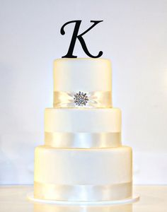 Custom - 4 inch Monogram Acrylic Wedding Cake Topper Personalized in Any Letter A B C D E F G H I J K L M N O P Q R S T U V W X Y Z on Etsy, $14.00