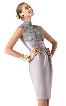 Stunning Highneck Charmeuse Dress With Wrapping Waist