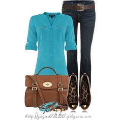 """""""Brown and Turquoise"""", created by jaycee0220 on Polyvore"""