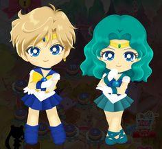 Sailor Urano y Neptuno Sailor Moon Drops, Sailor Moon Stars, Sailor Moon Crystal, Haruka And Michiru, Chibi, Sailor Moon Wallpaper, Moon Princess, Sailor Neptune, Fandom