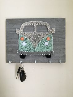 Creative DIY Wall Art for Living Room - String Art Westfalia keychain holder Bicycle String Art, String Art Diy, String Art Heart, Bicycle Art, Tree Wall Art, Diy Wall Art, Diy Art, Cute Crafts, Crafts To Sell