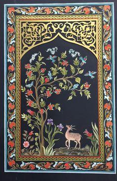 Minyatür ve kesim levha Pichwai Paintings, Mughal Paintings, Islamic Art Pattern, Pattern Art, Art Chinois, Folk Art Flowers, Paisley Art, Tibetan Art, Indian Folk Art