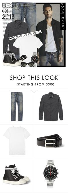 """MEN Street Style: Adam Levine - Best of 2013"" by karineminzonwilson ❤ liked on Polyvore featuring Oris, ADAM, Yves Saint Laurent, Sunspel, Loro Piana, Rick Owens, TAG Heuer and Ray-Ban"