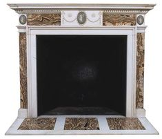 A WHITE MARBLE AND ALABASTRO FIORITO CHIMNEYPIECE | OF REGENCY STYLE, ELEMENTS 19TH CENTURY | Christie's White Marble, Decorative Objects, Mantle, Regency, 19th Century, Style, Swag, Decorative Items, Stylus