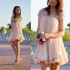 Love the motion! | Beads Embellished Pleated Dolly Dress