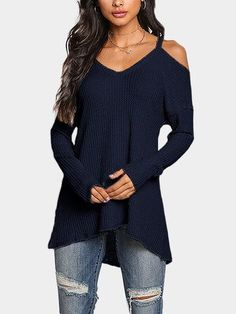 Navy Cold Shoulder Long Sleeves Knitted Top