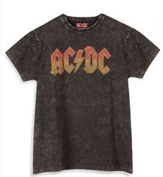 a89c09cd AC/DC Official Grey Acid Wash Band T-Shirt Primark Womens XS NWT