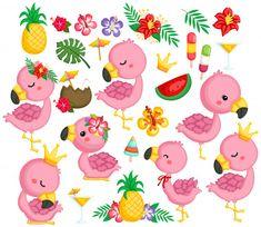 Cute Flamingo Clipart - Tropical Bird Clip Art - Pink Flamingo Clipart - Free SVG on Clip Art Vintage, Flamingo Clip Art, Flamingo Party, Flamingo Cake, Doodle Art, Adobe Illustrator, Bird Clipart, Cute Clipart, Owl Clip Art
