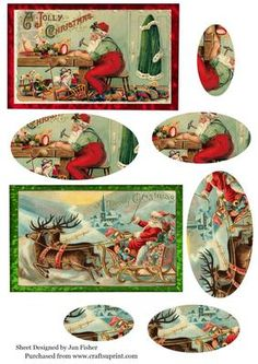 2 Vintage Santa toppers 5 on Craftsuprint designed by Jan Fisher - 2 toppers a6 in size - Now available for download!