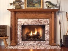 The Georgian is a Wooden Fireplace Mantel with Arts and Crafts styling, smooth and slightly tapered Tuscan columns.