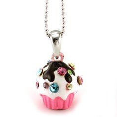 Amazon.com: Adorable 3d Light Pink Chocolate Cupcake Pendant Necklace Purple Green Yellow Stones Children's Girl Teens Jewelry: Jewelry