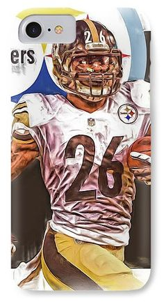 Le Veon Bell IPhone 7 Case featuring the mixed media Le Veon Bell Pittsburgh Steelers Oil Art by Joe Hamilton