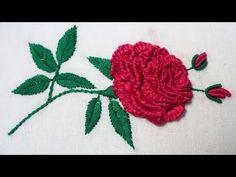 Hand Embroidery : Brazilian Embroidery ( Rose ) - YouTube