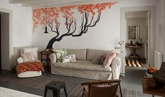 Modern Wall Mural Ideas for Living Room Design - Master Home Decor Birch Tree Wall Decal, Tree Wall Murals, Living Room Designs, Living Room Decor, Home Still, Home Design Magazines, Home Ceiling, Wallpaper Decor, Photo Wallpaper