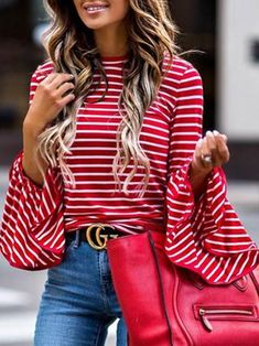 Striped Bell Sleeve Blouse - XL / Red