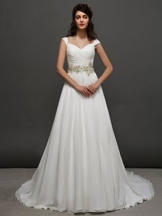 Lanting una linea | cinghie principessa abito da sposa treno cappella (2448985) - EUR €225.39