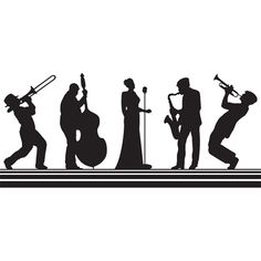 Big Band black and white mural is perfect for your or Gatsby Prom or Homecoming theme. Batman Silhouette, Silhouette Art, Music Images, Music Pictures, Harlem Nights Theme, Big Band Jazz, Daddy Daughter Dance, Newspaper Art, Music Drawings