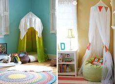 Opções descoladas e simples que podem render um bom cantinho de leitura para criança. Use a imaginação!