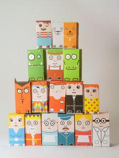 Collectible papercraft toys – Et pourquoi pas avec les vieilles briques de lait?