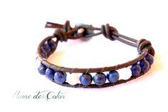 Lapis lazuli and Moonstone leather wrap Bracelet