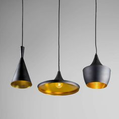 Pendant Lamp Depeche 3 Black with Gold