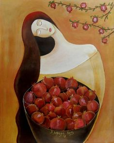 """Saatchi Art is pleased to offer the painting, """"Girl with Pomegranates,"""" by Ioanna Veremi. Original Painting: Acrylic on Paper. Size is 0 H x 0 W x 0 in. Pomegranate Art, Cute Christmas Wallpaper, Pottery Painting Designs, Plate Art, Naive Art, Art Drawings Sketches, Watercolor Art, Original Paintings, Illustration Art"""