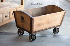 Wooden Valley Coal Cart - I really like this...just not the price tag...will have to figure out how to make one...it would look so nice with extra pillows and blankest by the couch