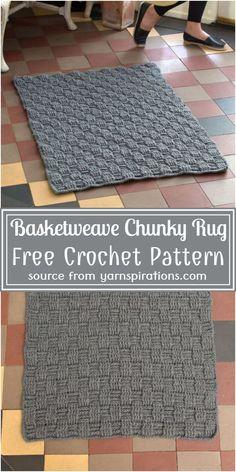 Crochet Cushion Pattern Free, Crochet Rug Patterns, Crochet Ideas, Crochet Projects, Free Crochet, Free Pattern, Basket Weave Crochet, Crochet Rugs, Crochet Cushions