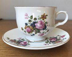 Sadler Wellington Tea Cup and Saucer, Floral Teacup and Saucer, Bone China, Made in England