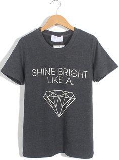 Dark Grey Short Sleeve Letters Diamond Print T-Shirt US$17.71