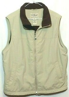 Men's Sleeveless Vest L.L. Bean Size L Khaki Jacket Great Condition   eBay Cotton Vest, Wool Vest, Fleece Vest, Khaki Chino Pants, Khaki Jacket, Shirt Jacket, Sleeveless Vest Mens, Mens Rugby Shirts, Ll Bean Men