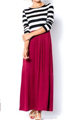Women's Trendy Striped Top and Solid Skirt Color Block Maxi Dress available at www.apostolicclothing.com. #modesty #modestfashion #modestdresses #maxidresses