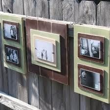 Recycled wood, stacked and grouped for photo frames.