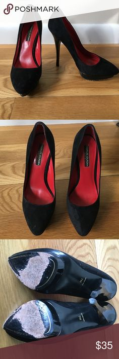 Charles Jourdan Black Suede Pumps Black suede pumps from Charles Jourdan. Good used condition. Red leather lining with a sexy stiletto heel and subtle pointed toe. The front has a platform to offset the amount of pressure on the balls of the feet from the high heel, which makes these shoes so much more comfortable. Charles Jourdan Shoes Heels