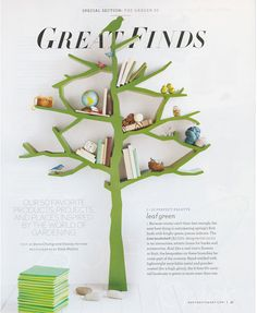 Green tree bookcase found in Martha Stewart Living. So fun for a kids room! Tree Bookshelf, Tree Shelf, Bookshelves, Vintage Inspired Bedroom, Spring One, Green Trees, Martha Stewart, Kids Furniture, Holiday Parties