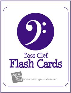 Free Printable Music Flash Cards | Bass Clef Note Names
