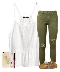 """yay 3 day weekend !"" by ashtongg117 ❤ liked on Polyvore featuring H&M, Current/Elliott, Birkenstock and Monet"